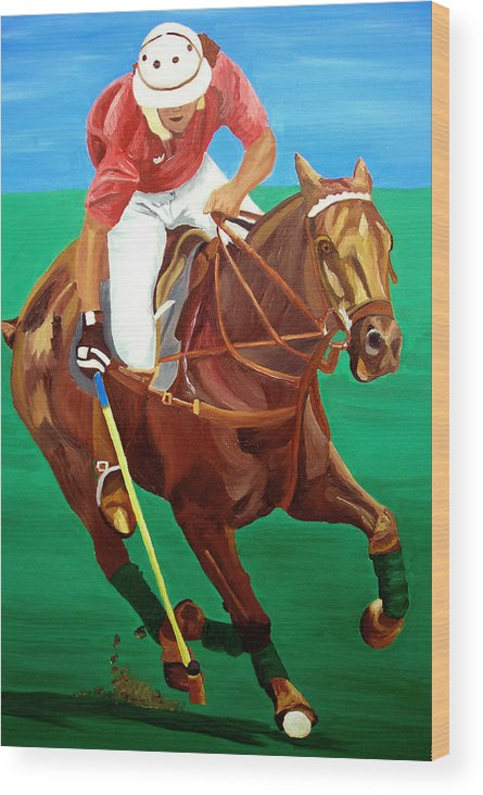 Polo Wood Print featuring the painting Chukar by Michael Lee