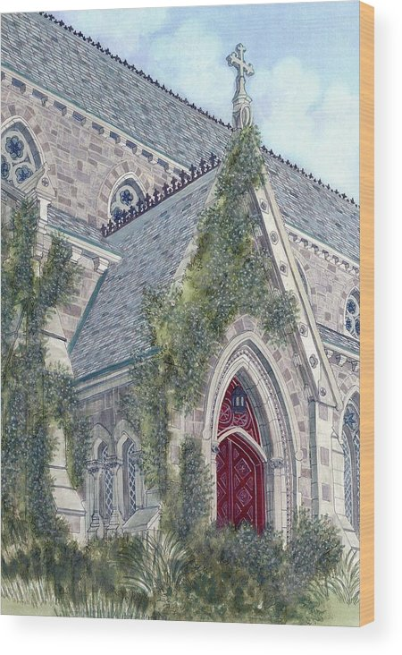 Church Wood Print featuring the painting Church Doorway by David Hinchen