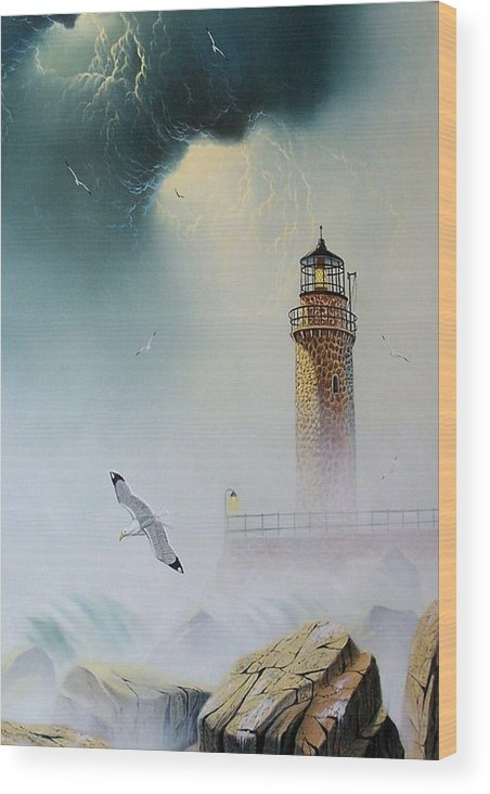 Lighthouse Wood Print featuring the painting Coastal Light by Don Griffiths