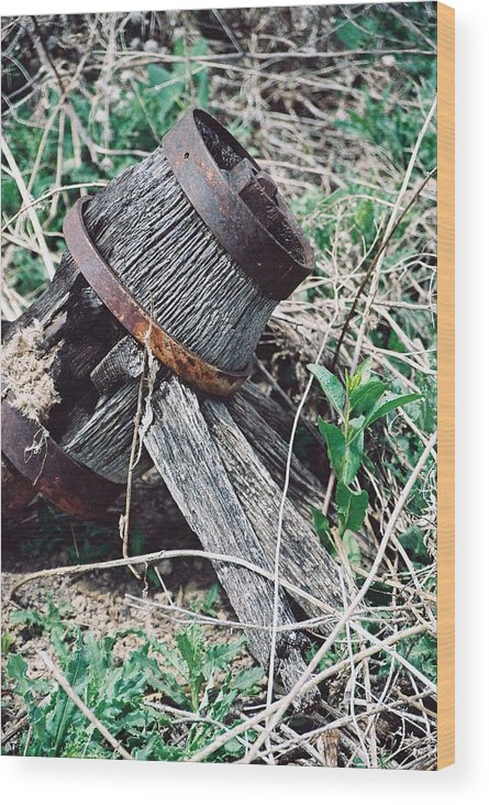 Western Wood Print featuring the photograph Covered Wagon Wheel by Margaret Fortunato