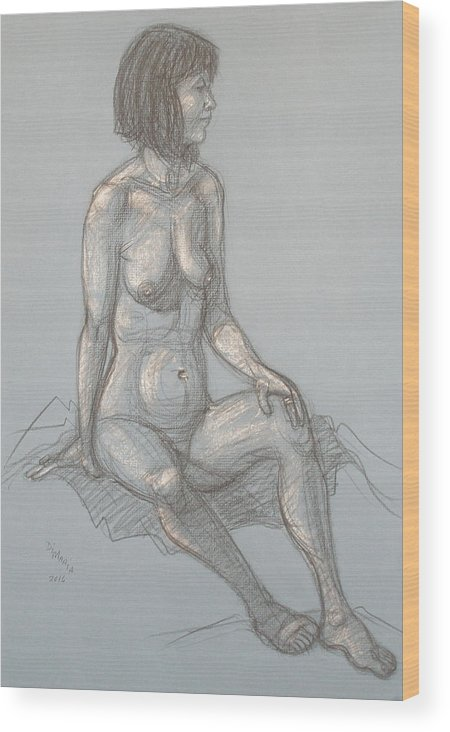 Realism Wood Print featuring the drawing Cynthia Seated From Side by Donelli DiMaria
