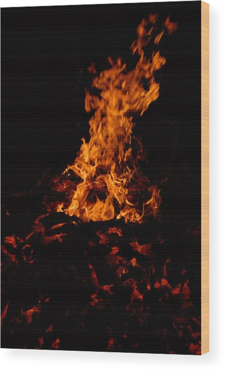 Fire Wood Print featuring the photograph Dancing Fire by Steven Crown
