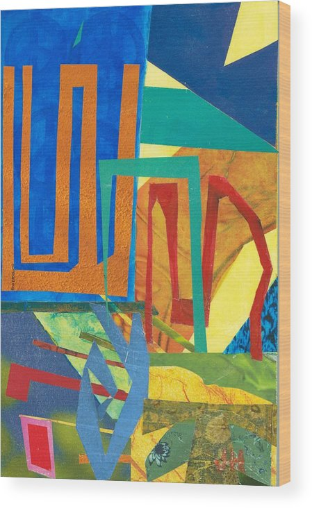 Abstract Art Wood Print featuring the mixed media Day Tripper by Jerry Hanks
