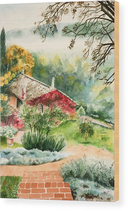 View Of Pathway To Red Cottage And Mountains In Mist Wood Print featuring the painting Dievole Vineyard In Tuscany by Judy Swerlick