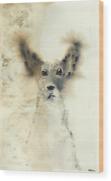 Dog Wood Print featuring the painting dog by Sarah Goodbread