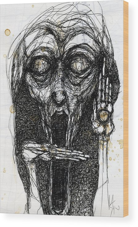 Face Wood Print featuring the drawing Dream One by Mark M Mellon
