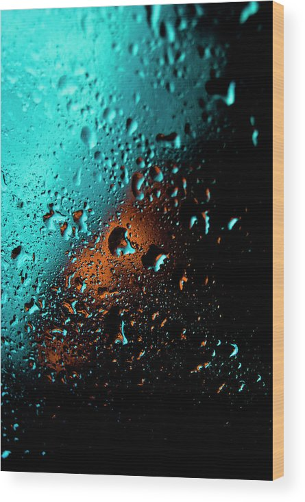 Water Wood Print featuring the photograph Droplets V by Grebo Gray