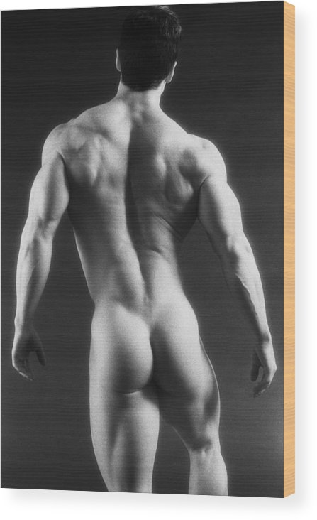 Male Nudes Wood Print featuring the photograph Dwain Leland 3 by Thomas Mitchell