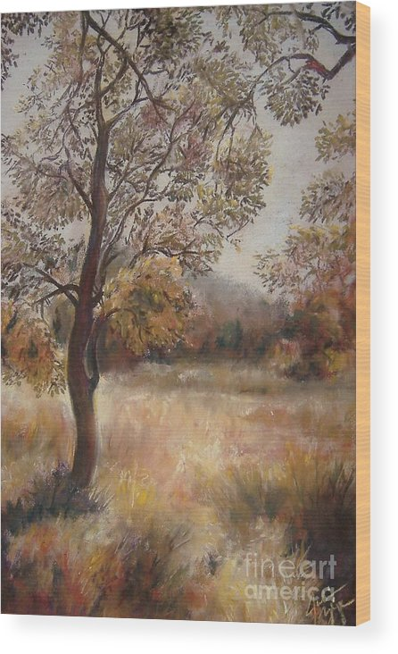 Landscape Wood Print featuring the painting Early Autumn by Julianna Ziegler
