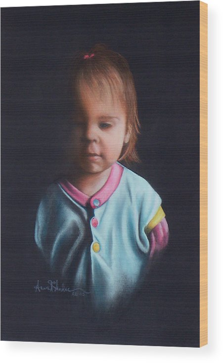 Child Wood Print featuring the painting Early Riser by Anne Rhodes