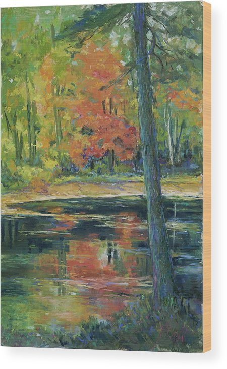 Fall Wood Print featuring the painting East Coast Autumn by Billie Colson