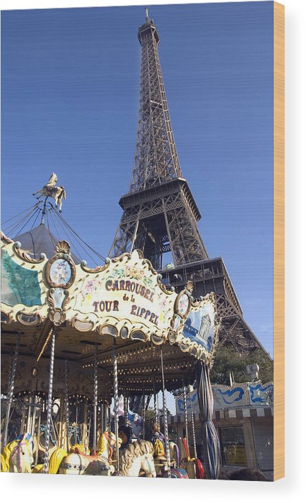 Eiffel Tower Wood Print featuring the photograph Eiffel Tower And Ancient Carousel by Charles Ridgway