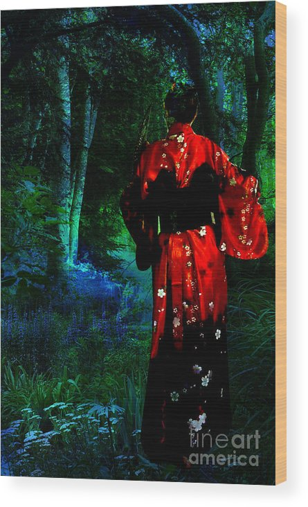 Japanese Wood Print featuring the mixed media Evening Kimono by Tammera Malicki-Wong