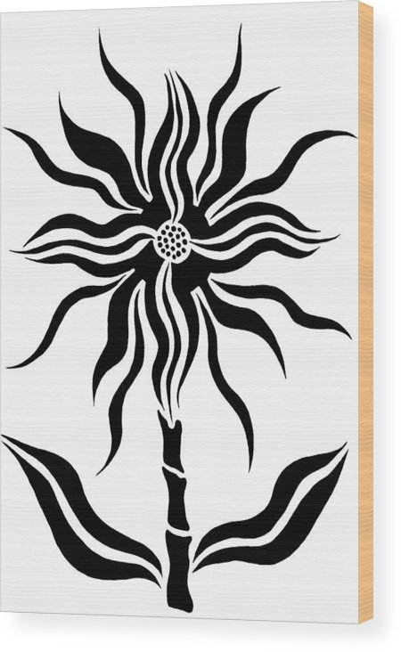 Fantasy Star Flower Wood Print featuring the drawing Fantasy Star Flower by Beth Akerman