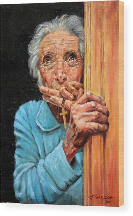 Old Woman Wood Print featuring the painting Fear And Faith by John Lautermilch