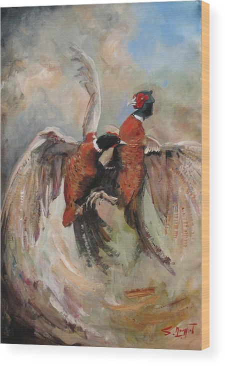 Pheasant Wood Print featuring the painting Fight by Tigran Ghulyan