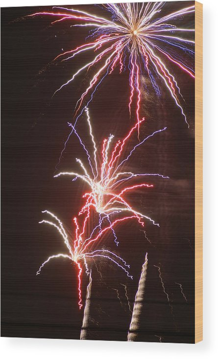 Fireworks Wood Print featuring the photograph Fireworks by Heather Green