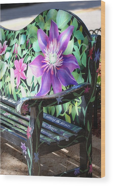 Macro Wood Print featuring the photograph Flower Bench by Rob Hans