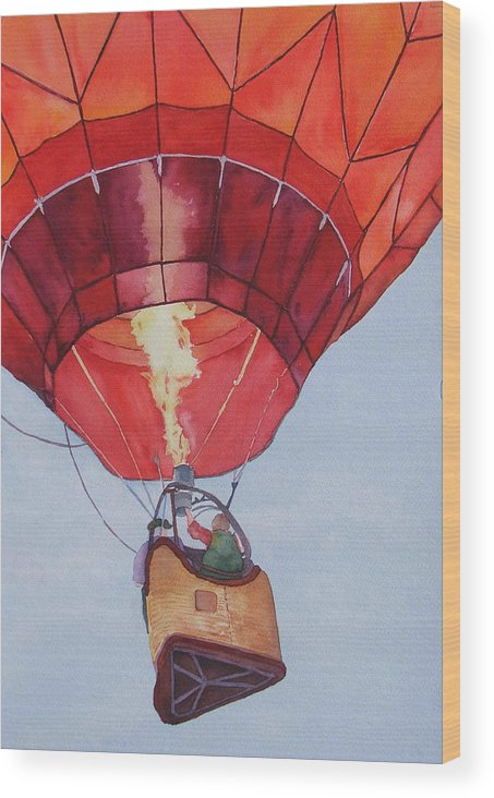 Balloons Wood Print featuring the painting Full Of Hot Air by Judy Mercer