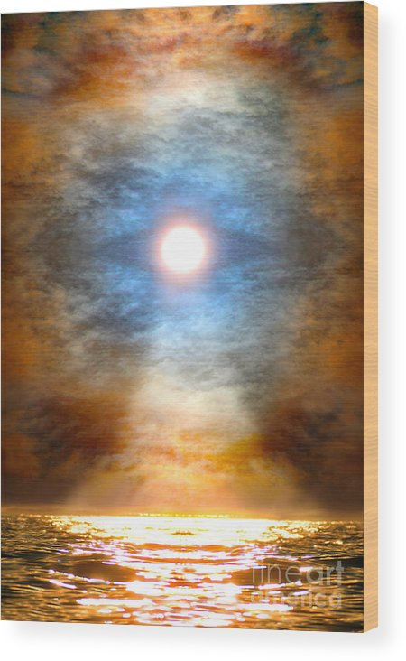 Sacred Art Wood Print featuring the painting Gentle Mantra Om Light Glowing Into The Sea by Wernher Krutein