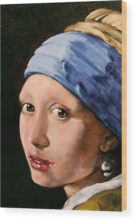 Portrait Wood Print featuring the painting Girl With A Pearl Earring A Reproduction Of Vermeer by Joan Garcia