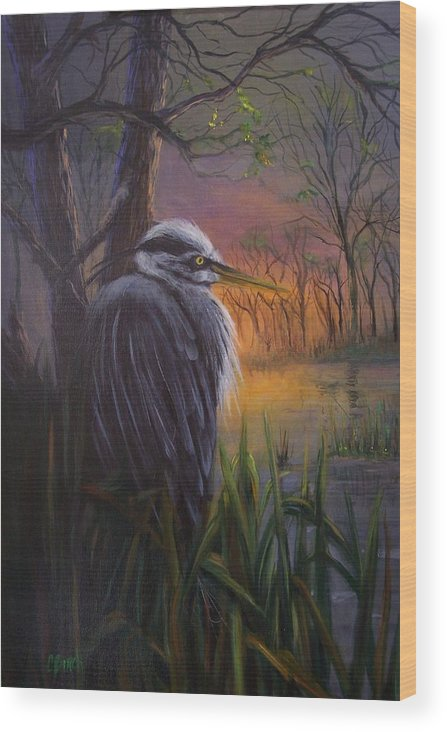 Bird Wood Print featuring the painting Great Blue At Sunset by Colleen Birch