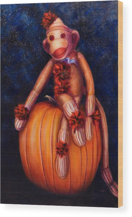 Pumpkin Wood Print featuring the painting Halloween by Shannon Grissom
