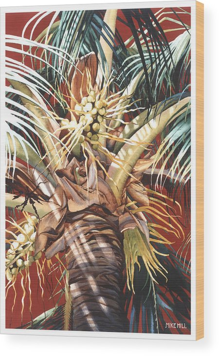Coconut Palm Palms Tree Red Breeze Hawaiian Maui Hawaii Wood Print featuring the painting Hawaiian Fireworks by Mike Hill