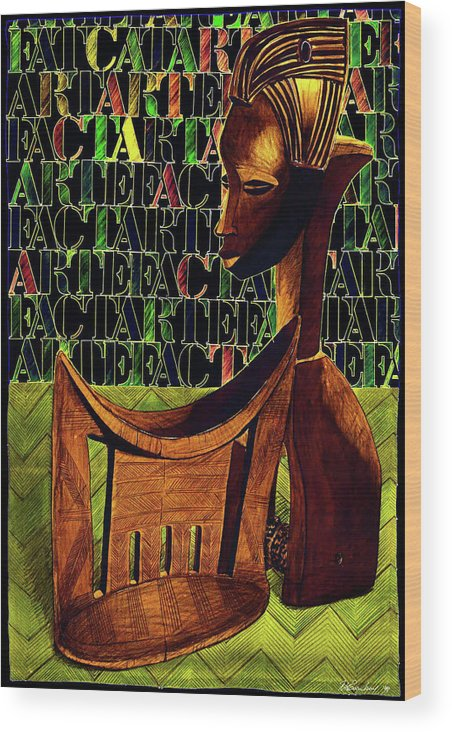 African Art Wood Print featuring the drawing Headrest And Bobbin Alt. Colour by Ronald Rosenberg
