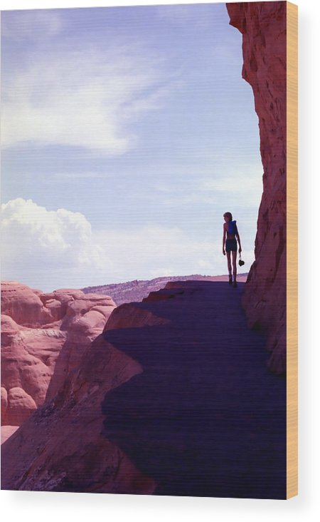 Hiker Wood Print featuring the photograph Hiker In Silhouette by Steve Ohlsen