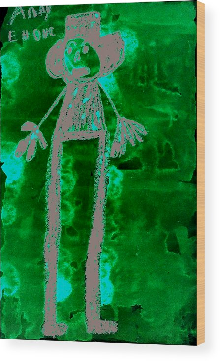 Abstract Wood Print featuring the mixed media Husband by Todd Dehart
