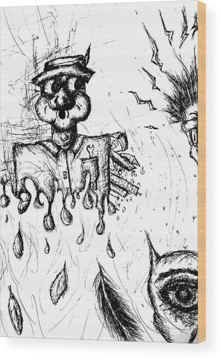 Crazy Wood Print featuring the drawing Insanity by Jera Sky