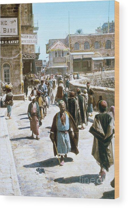 1950s Wood Print featuring the photograph Jerusalem Street Scene by Granger