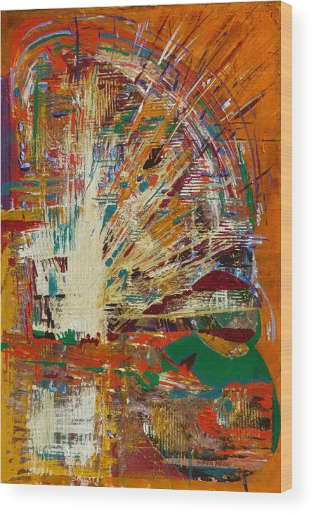 Abstract Wood Print featuring the painting Jukebox by Karen Merry