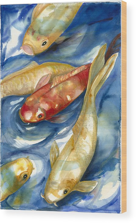 Koi Fish Painting Wood Print featuring the painting Koi Fish II by Ileana Carreno