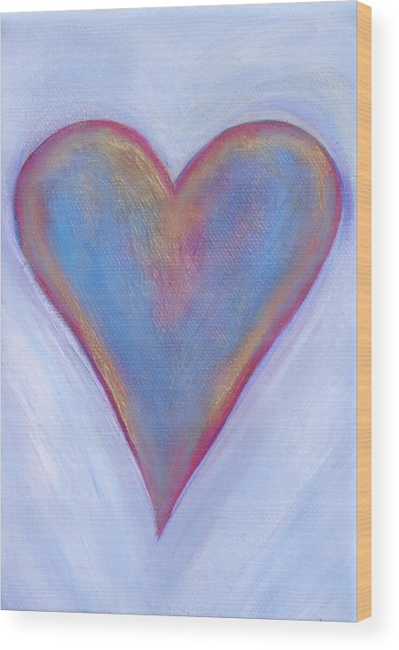 Wood Print featuring the painting Light Blue Heart by Samantha Lockwood