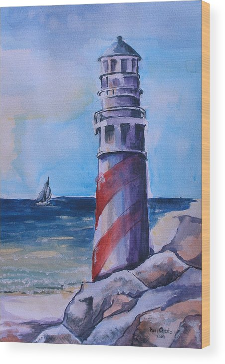 Lighthouse Wood Print featuring the painting Lighthouse by Paul Choate