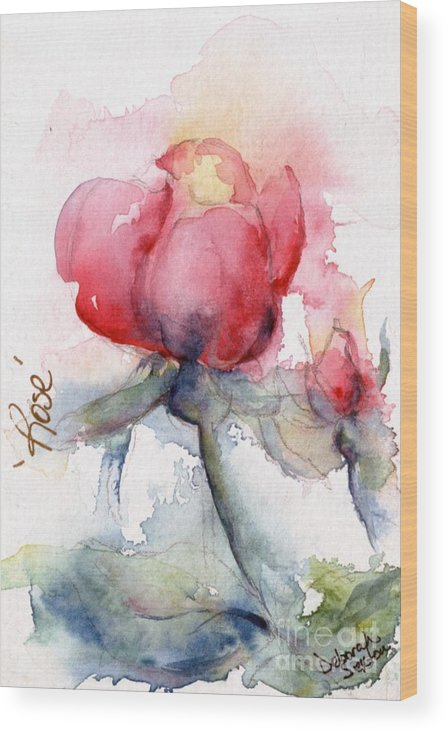 Watercolor Wood Print featuring the painting Linda's Rose Watercolor by CheyAnne Sexton