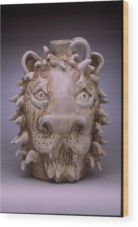 Face Jug Wood Print featuring the ceramic art Lion Face Jug by Stephen Hawks
