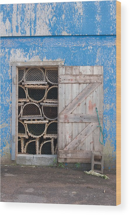 Lobster Wood Print featuring the photograph Lobster Trap Storage-3 by Steve Somerville