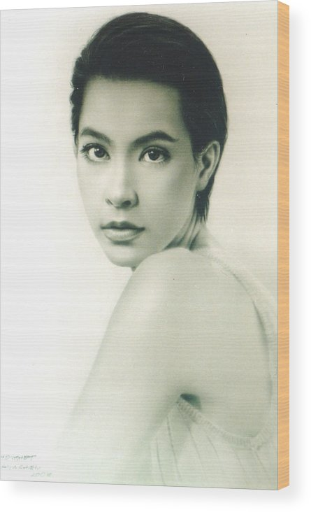Portrait Wood Print featuring the painting Marcha by Chonkhet Phanwichien