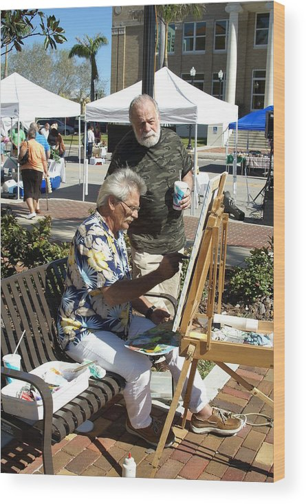 Artists Working Wood Print featuring the photograph Merle Hummell Watches Me Paint by Charles Peck