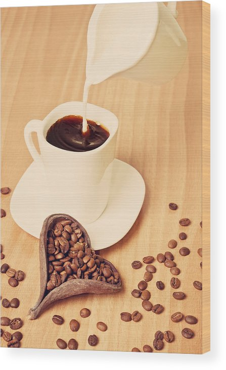 Milk Wood Print featuring the photograph Milk In The Coffee by Ilias Kordelakos