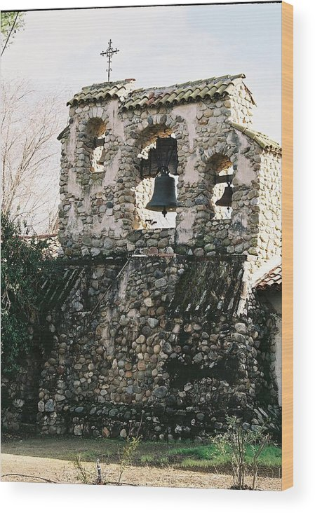 Landscape Wood Print featuring the photograph Mission Bells On Side Wall by Edward Wolverton