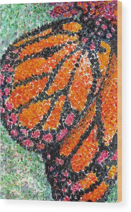 Watercolor Wood Print featuring the painting Monarch Butterfly On Ocotillo Blossom by Cynthia Ann Swan