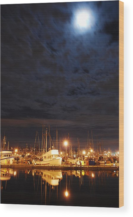 Fishing Wood Print featuring the photograph Moon Over Fishermans Terminal by Alasdair Turner