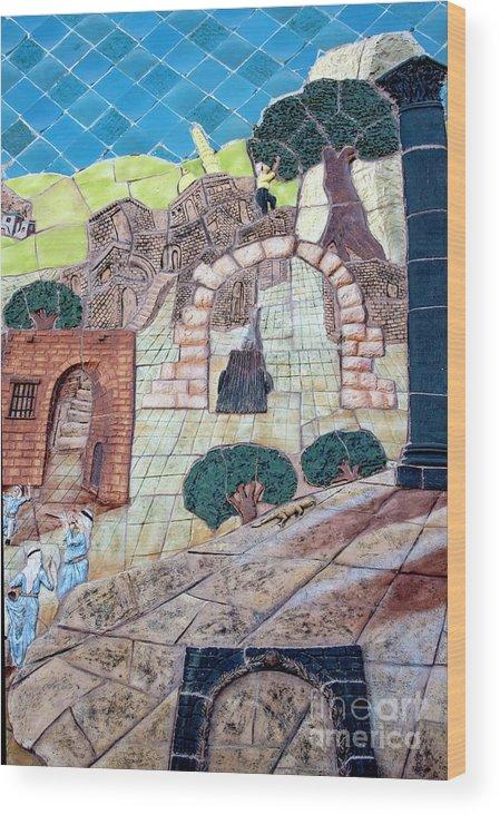 Mosaic Art At Petra Wood Print featuring the photograph Mosaic Art At Petra by Mae Wertz