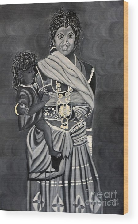 People Wood Print featuring the painting Mother And Child by Usha Rai
