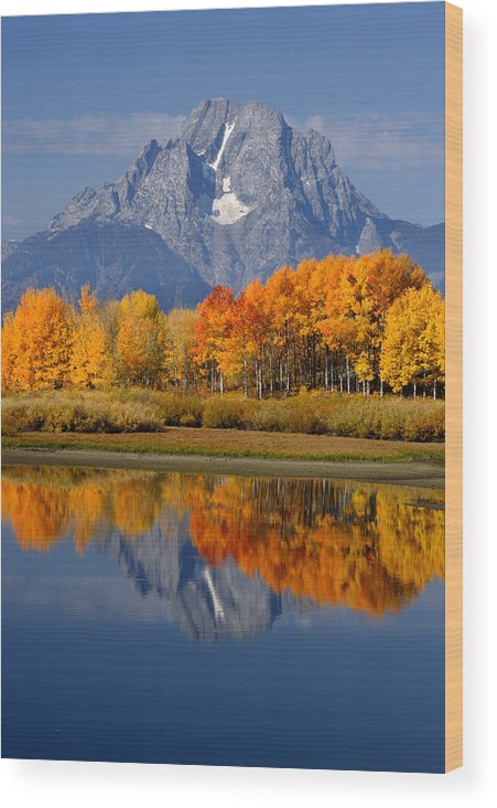 Wyoming Wood Print featuring the photograph Mount Moran Reflections by Eric Foltz