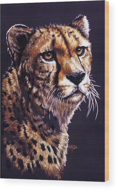 Cheetah Wood Print featuring the drawing Movin On by Barbara Keith